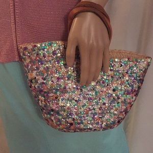06d5bf0a0 Handmade Unique multicolored sequin straw hand bag